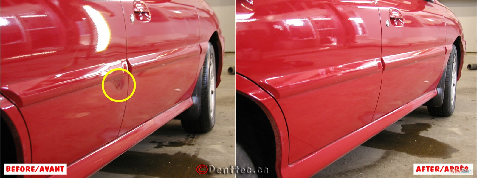 DentTec_26 Dent Under Door Molding Red Car